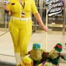 April O'Neal and the Teenage Mutant Ninja Turtles.