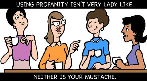 Using profanity isn't very lady like, neither is your mustache.